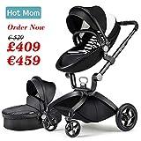 Hot Mom Limited Edition Kombikinderwagen mit Buggyaufsatz und Babywanne Travelsystem Funktion new 2017, Kinderwagen 3 in 1, Babyschale separate erhältlich - Schwarz