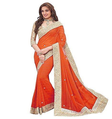 D7 Fashion New Orange Color Chiffon Fabric Sarees With Blouse.