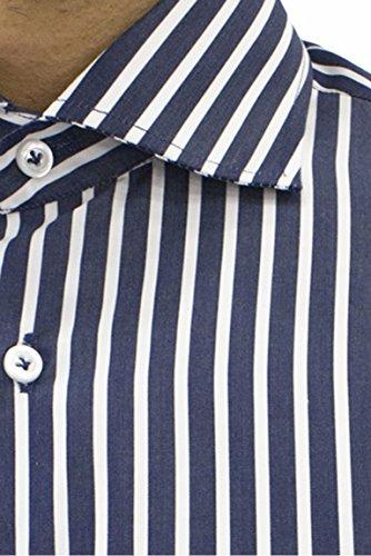 Camicia uomo manica lunga slim fit con collo francese fantasia rigata notte bianco, blu, 39