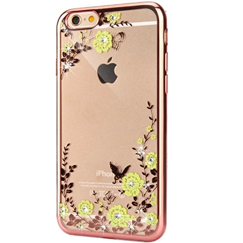 iPhone 6S Plus Hülle Silikon,iPhone 6 Plus Hülle Glitzer,iPhone 6S Plus Rosa Gold Mirror TPU Bumper Case Soft Silikon Gel Schutzhülle Hülle für iPhone 6 Plus 5.5 Zoll,EMAXELERS iPhone 6S Plus weiche S Butterfly Flower Series 5