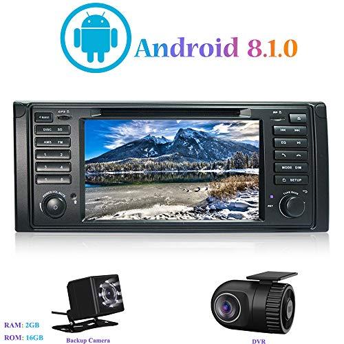 "Android 8.1.0 Autoradio, Hi-azul In-Dash Car Radio 7"" Car Stereo 4-Core GPS Navigation Moniciver Navi Car Audio mit CD/DVD-Player für BMW 5-E39/BMW X5-E53 (mit Rückfahrkamera und DVR)"