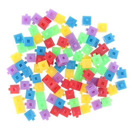 perfk 100 Stück Stapelwürfel Würfel Baustein Spielzeug für Kinder 100 verbindenden Würfel in 5 Farben - Stacking-würfel