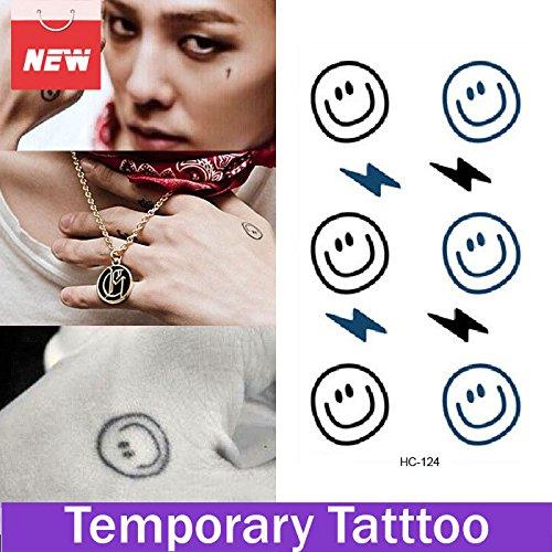 Rexul (TM)-Faccina sorridente con connettore Lightning, 1 foglio di adesivi, tatuaggi temporanei Tattoo Shop-Tattoo