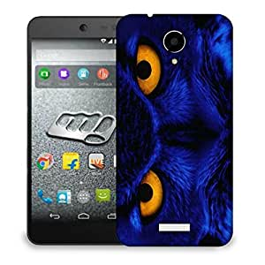 Snoogg Blue Owl Designer Protective Back Case Cover For MICROMAX Q416