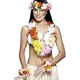 Smiffys, Damen Hawaii Set, Blumenkette, Blumen-Stirnband und Blumen-Armband, One Size, Bunt, 22661