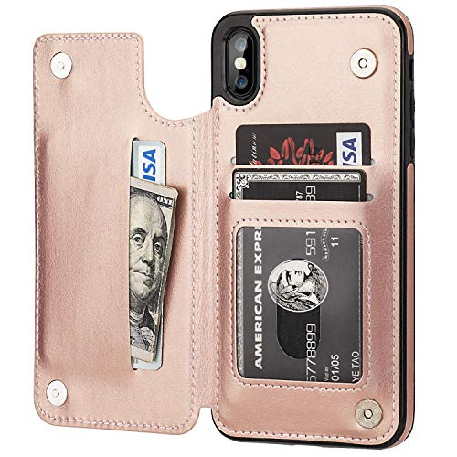 Suhctup Tasche Kompatibel für iPhone SE/5S/5 Hülle Außenseite aus Echt Leder Innenseite aus Textil Magnet Schutz Case Ständer mit Ultra Slim Cover Bookstyle Klappbar