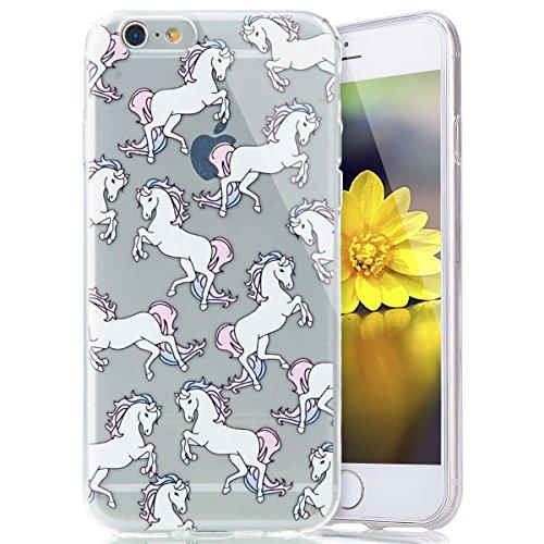 Cover Custodia la iPhone 6/6S plus 5.5 silicone,Ukayfe Copertura Elegante e Leggera Custodia Ultra Slim Modello TPU Gel Silicone Protettivo Skin Protettiva Shell Case Cover per iPhone 6/6S plus 5.5 ,  Cavallo bianco