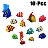 Legendog 10PCS Pesci Giocattoli Pesci Artificiali 3D Pesci Tropicali di Mare Assortiti Pesci Decorativi per Acquario