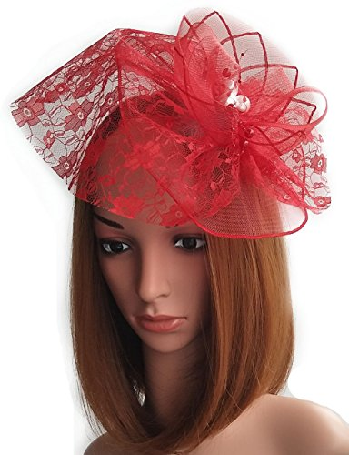 Womens Fascinator Hut Haarclip Perlen Schleier für Cocktail Headwear Party Kopfschmuck (Kostüm Hut Diy)