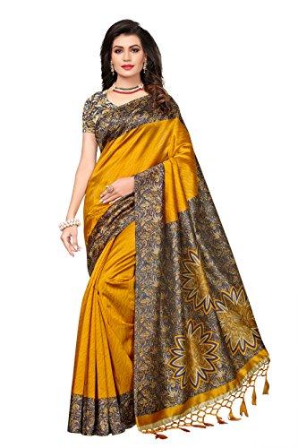 Ishin Art Silk/Blended Mysore Silk Mustard Yellow Printed Women's Saree/Sari With Tassels
