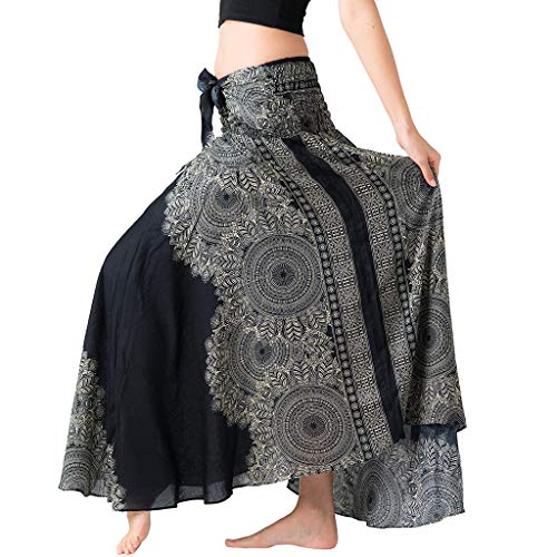 Bibao Falda larga hippie bohemia gitana boho flores cintura elástica