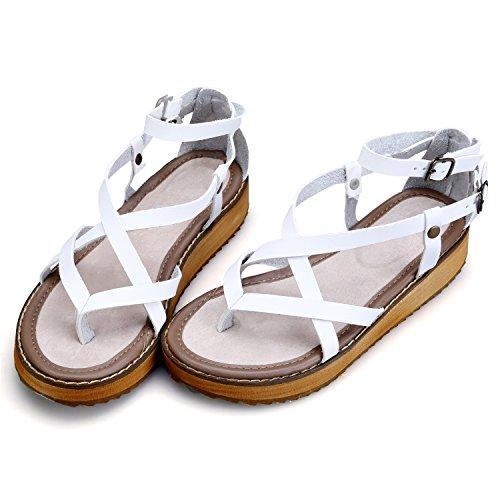 Smilun Femme Flip Flops Thongs Sandales Romaine Sandales chaussures Coix lanière Gladiateur Sandales Compensées Blanc