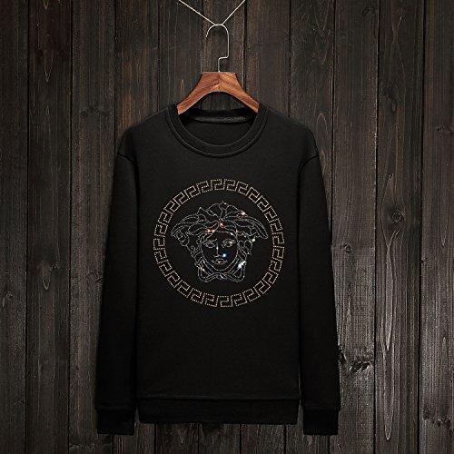 Xing Lin Pullover Con Cappuccio Maglione Uomo Scollo Rotondo A Copertura Delle Grandi Numeri Di Sau 32, Black