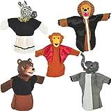 "Set Of 5 Animal Hand Puppets 10"" VINYL HEADS Wild Animals"