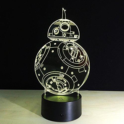 BB8 Sphero Droid 3D Nachtlicht BB-8 Roboter Action Figure Spielzeug Lampe 7 Farben Ändern Kinder Geschenk Wohnkultur ping