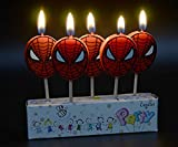 AMFIN (Pack of 5) Spider Man Spiderman Candle / Birthday Theme/ Party Supplies