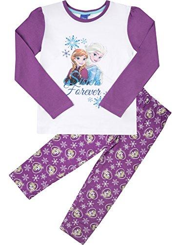 Frozen Mädchen Schlafanzug aus Baumwolle EP2009 (Weiß/Violett (2182), 8 Jahre-128) (Ausarbeitung Hose Von Muster)
