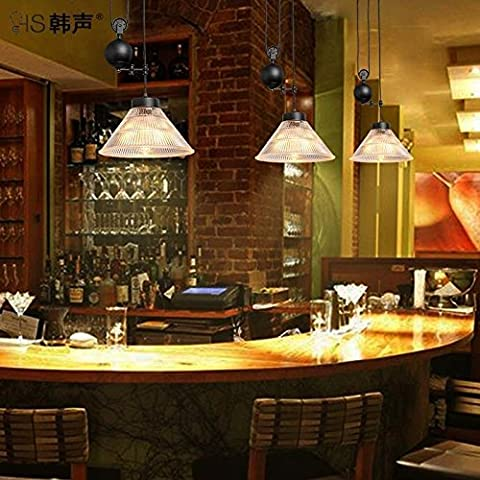 LYNDM Il nero di seppia ristorante Cafe industriale stile loft negozi creative bar fare clic su tre doppia testata può sollevare il lampadario ?Senza luce?