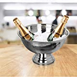 Krollmann Design Sektkühler aus Edelstahl Ø40 cm in Hammerschlagoptik Champagnerschale für bis zu 6 Flaschen - Flaschenkühler für den edlen Genuss von Champagner, Sekt, Wein, Spirituosen, Bier - 3