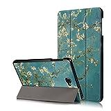 Xuanbeier Ultradünne Pu Leder Hülle für Samsung Galaxy Tab A 10.1 SM-T580/T585 mit Standfunktion und Auto Schlaf/Wach Funktion, Flower
