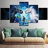 CXDM Drucke auf Leinwand HiddenWorld Zeichentrickfilm Bild Poster 5 Panel Wandbilder Modern Kunstwerk Für Ihr Zuhause/Büro,A,30×50×2+30×70×2+30×80×1