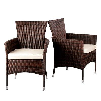 2er Set Polyrattan Stühle inkl. Sitzkissen