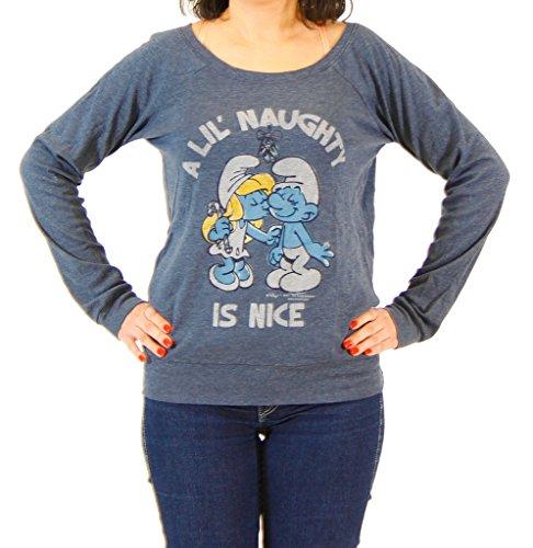 Junior Shirt-junk Food (Junk Food Smurfs A Little Naughty Is Nice Heather Navy T-shirt (Juniors Medium))