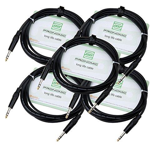 Pronomic Stage INSTS-3 Stereo-Klinkenkabel 3m 5x SET (symmetrisch abgeschirmt, zweiadrig, 6,3 mm Klinkenstecker) schwarz