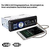 Bedee Autoradio KFZ Bluetooth Audio Empfänger MP3 Player mit Freisprecheinrichtung für iPhone / iPad / iPod / Smartphone, Unterstützung USB/AUX Anschluss SD Karten ISO Anschlußkabel 1 DIN schwarz - 5