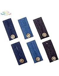 Extensor de cintura con botón de metal, 6 piezas, para pantalones, pantalones y falda, color negro, azul y azul oscuro