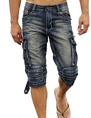 Idopy Herren Cargo-Denim Biker Jeans-Shorts mit Reißverschluss (W31, Vintage-blau) Biker-denim