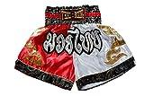 Nakarad Pantaloncini da Boxe thailandesi (Rosso/Bianco, L)