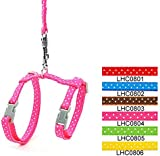 SMALLLEE_LUCKY_STORE Pet Cat Harness Leash Set Polka Dots Kitten Collar Adjustable Small Dog Walking Lead Pink