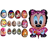 1 Balloon + 14 Surprise Eggs for Girls including Cinderella, Frozen, Toy Story, Monsters Inc, Finding Nemo Inside Out, Disney Princess, Disney Princess Super Surprise, My Little Pony, Barbie, Minnie Mouse etc...