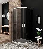 Duschkabine Viertelkreis 80 x 80cm Duschabtrennung Runddusche Schiebetür Duschtüren aus Glas Duschwand ohne Duschtasse Höhe 185cm grau