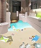 Poowef 3D Wallpaper Wallpaper 3D Di Spiagge Di Sabbia Bianca E Calda Shell Romantica Sea Star 3D Hd Resistente All'Acqua Anti-Slittamento Vernice Pavimento Usura Di Moda