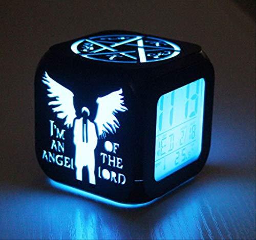 HHKX100822 Mode Kreative 3D Stereosmallal Kleinen Wecker, Led Quad Uhr Kleine Nachtlicht, Elektronische Glocke Bettuhr Schwarze Schale Batteriegehäuse