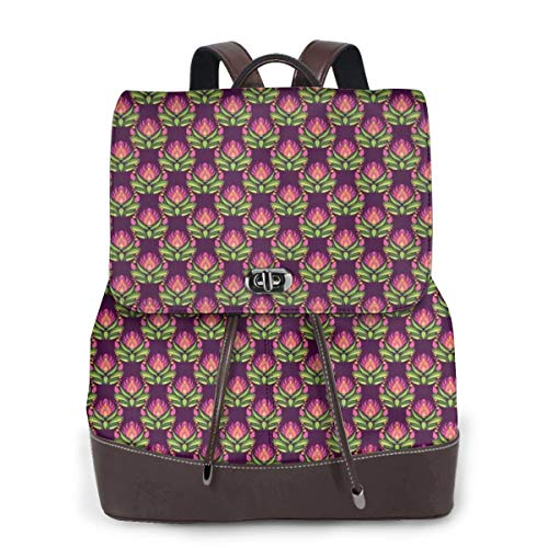 Women's Leather Backpack,Floral Art Pattern East European Folkloric Style Vintage Blossoms,School Travel Girls Ladies Rucksack -