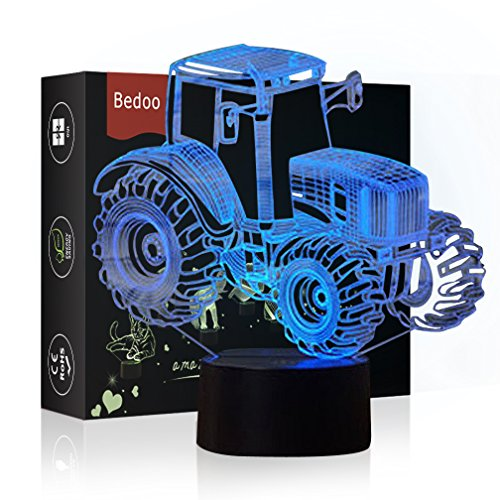 HeXie LED Nacht Lichter 3D Illusion Nachttisch Lampe 7 Farben ändern Schlafen Beleuchtung Smart Touch Button Nette Geschenk Warming präsentieren kreative Dekoration ideale Kunst Handwerk (Traktor)