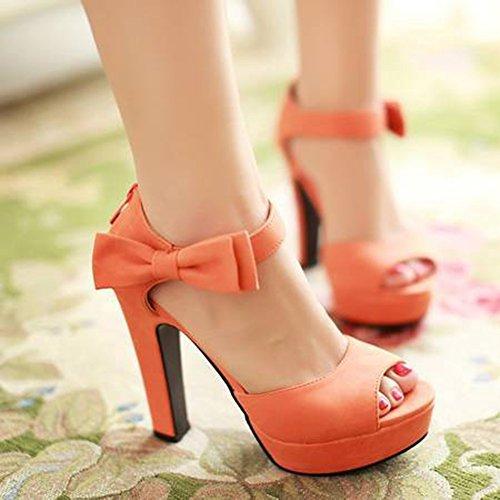 Aisun Damen Schleife Peep Toe Plateau Zipper Sandale Orange