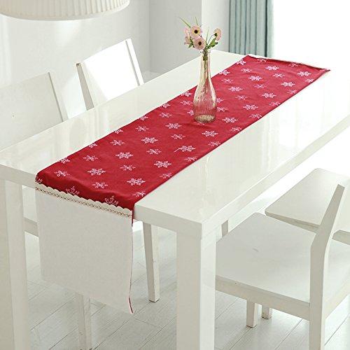 Cunguang Weihnachten Geschenk Tabelle stickerei Tischdecke amerikanischen Nordic, Gules, 35 * 150 cm. (Tinkerbell Vase)
