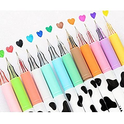Clobeau Creative Cartoon Milky Diamond Head Gel Pens Set of 12-pcs Coloring Rollerball Pens 0.38mm School Office Supplies Gel Ink Pen Assorted Colors Pens Anti Skip for Drawing Adult Coloring Book by MoonLove