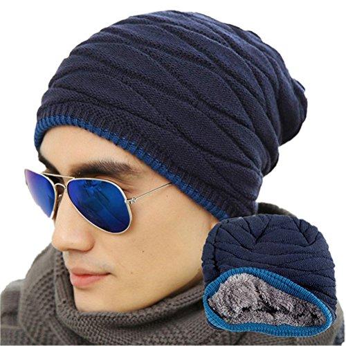 ROSENICE Inverno Cappelli uomo Soft foderato maglia spessa Skull Cap Berretti Slouchy Hat (blu marino)