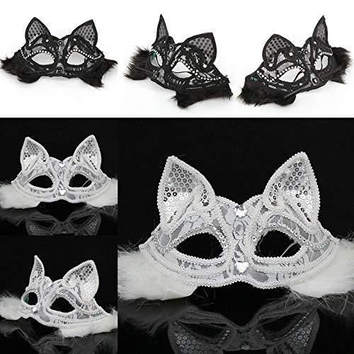 JFSKD Halloween Maske Karneval Maskerade Maske Sexy Lace Animal Half Mask als Valentinstagsgeschenk,White (Und Make-up Halloween Einfache Niedliche)