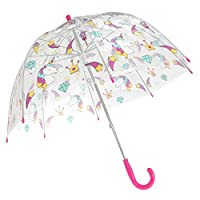 X-Brella Childrens/Kids Transparent Unicorn And Rainbow Themed Stick Umbrella (Kids) (Unicorn/Rainbow)