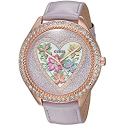 GUESS Women's U0908L1 Trendy Rose Gold-Tone Stainless Steel Watch with Analog Dial and Purple Strap Buckle