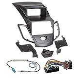 Ford Fiesta JA8 mit Display 10-13 2-DIN Autoradio Einbauset in original Plug&Play Qualität mit Antennenadapter, Radioanschlusskabel, Zubehör und Radioblende/Einbaurahmen schwarz
