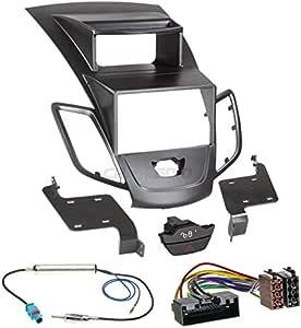 Ford Fiesta Ja8 Original Plug Play Quality With Display Uk Size 9 2 Din Car Radio Installation Set Includes Aerial Adaptor Radio Connection Cable And Radio Fascia Frame Black Navigation Car Hifi