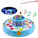 #2: MousePotato 2 Layer Rotating Fishing Pond Fish Catching Game with 26 Fish 4 Rods Light & Music (BLUE)