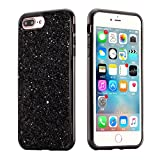 EUWLY iPhone 6 Plus Case Hard Plastic,Hard Plastic Phone Case for iPhone 6S Plus,Bling Shiny Sparkle Glitter Plastic Hard Case Protective Shell Case Cover for iPhone 6 Plus 6S Plus Scratch Resistant Slim Case Luxury Glitter Shock Resistant Anti-dust Thin Phone Case Cover with Electroplating Border for Apple iPhone 6 Plus / 6S Plus + 1 x Blue Stylus Pen - Sequins,Black